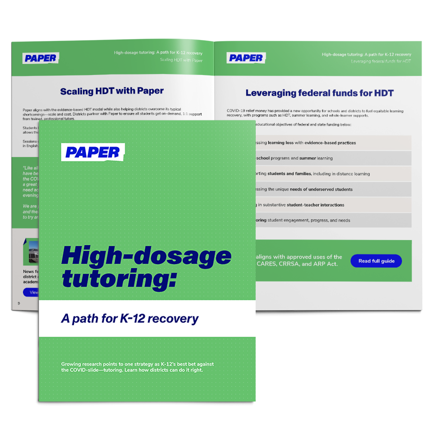Cover and Spread of Ebook - High-Dosage Tutoring